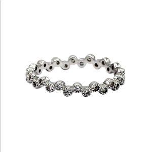 Mini circle crystal silver ring